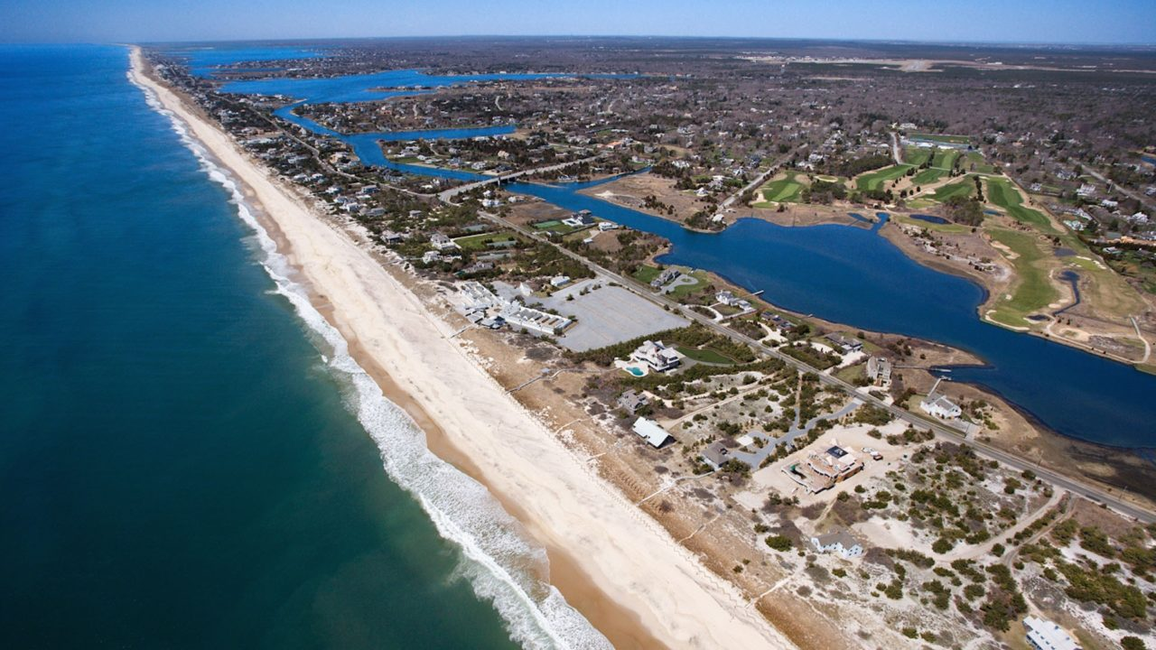 Aerial view of The Hamptons during the day from a helicopter