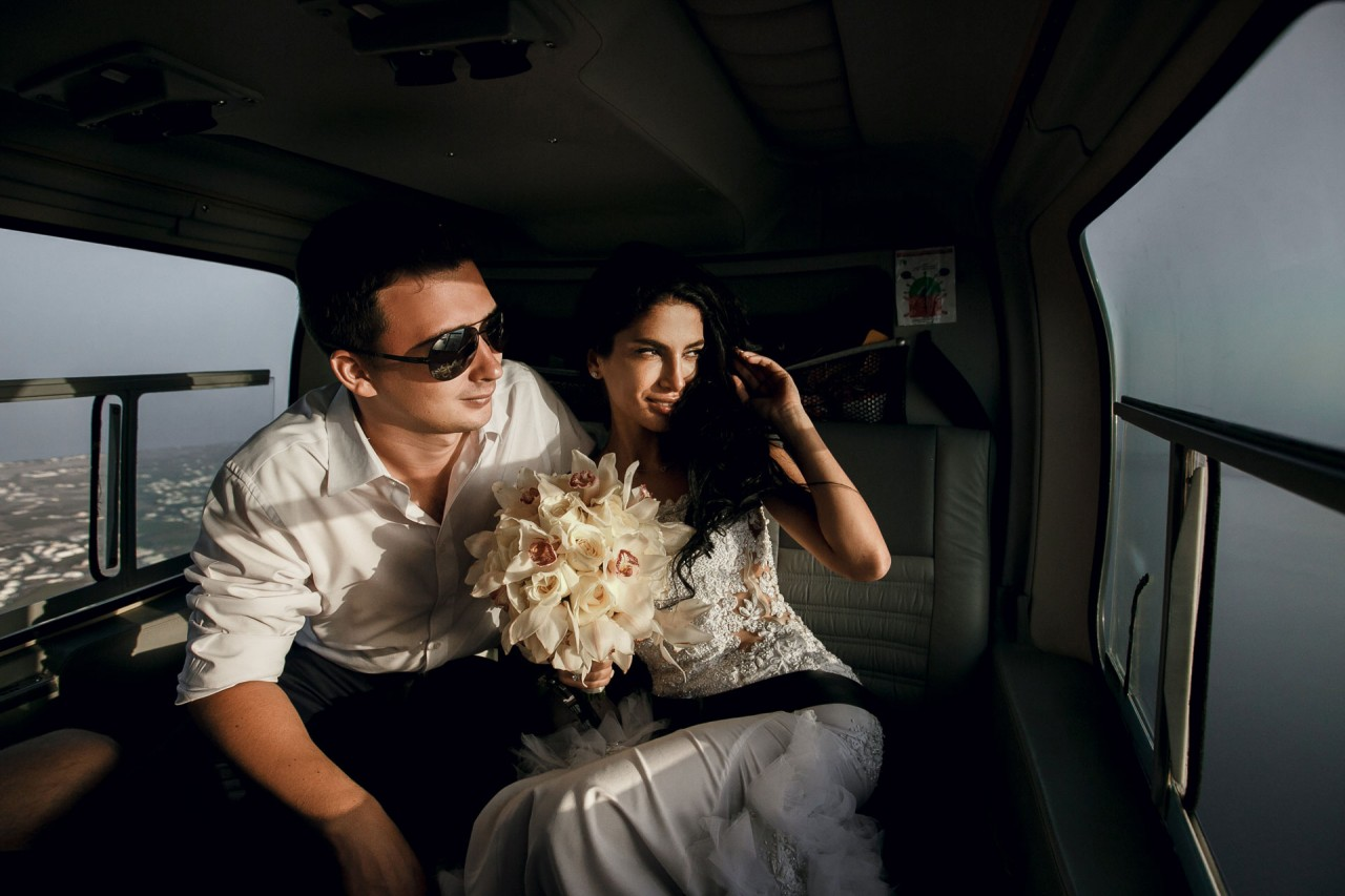 newly wed in helicopter