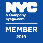 NYC and company member badge in blue 2019