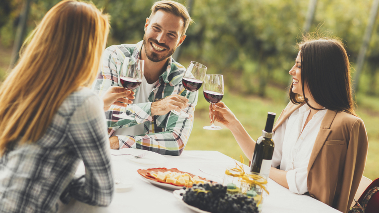 group of people sitting at a table outside holding wine glasses and smiling
