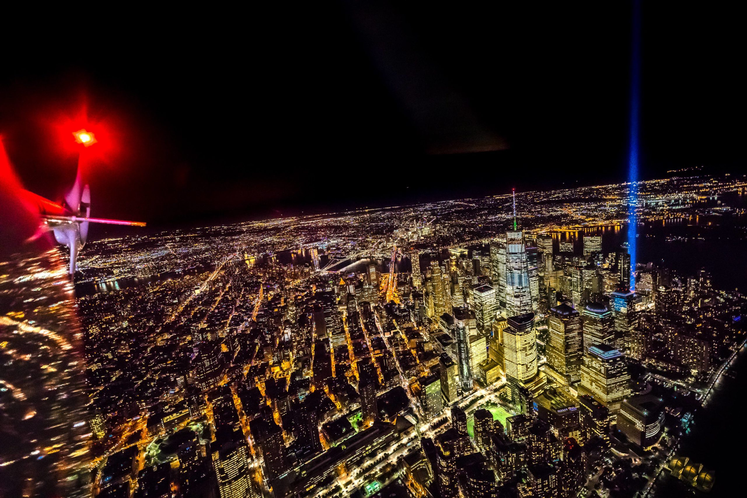 NYC nighttime flight