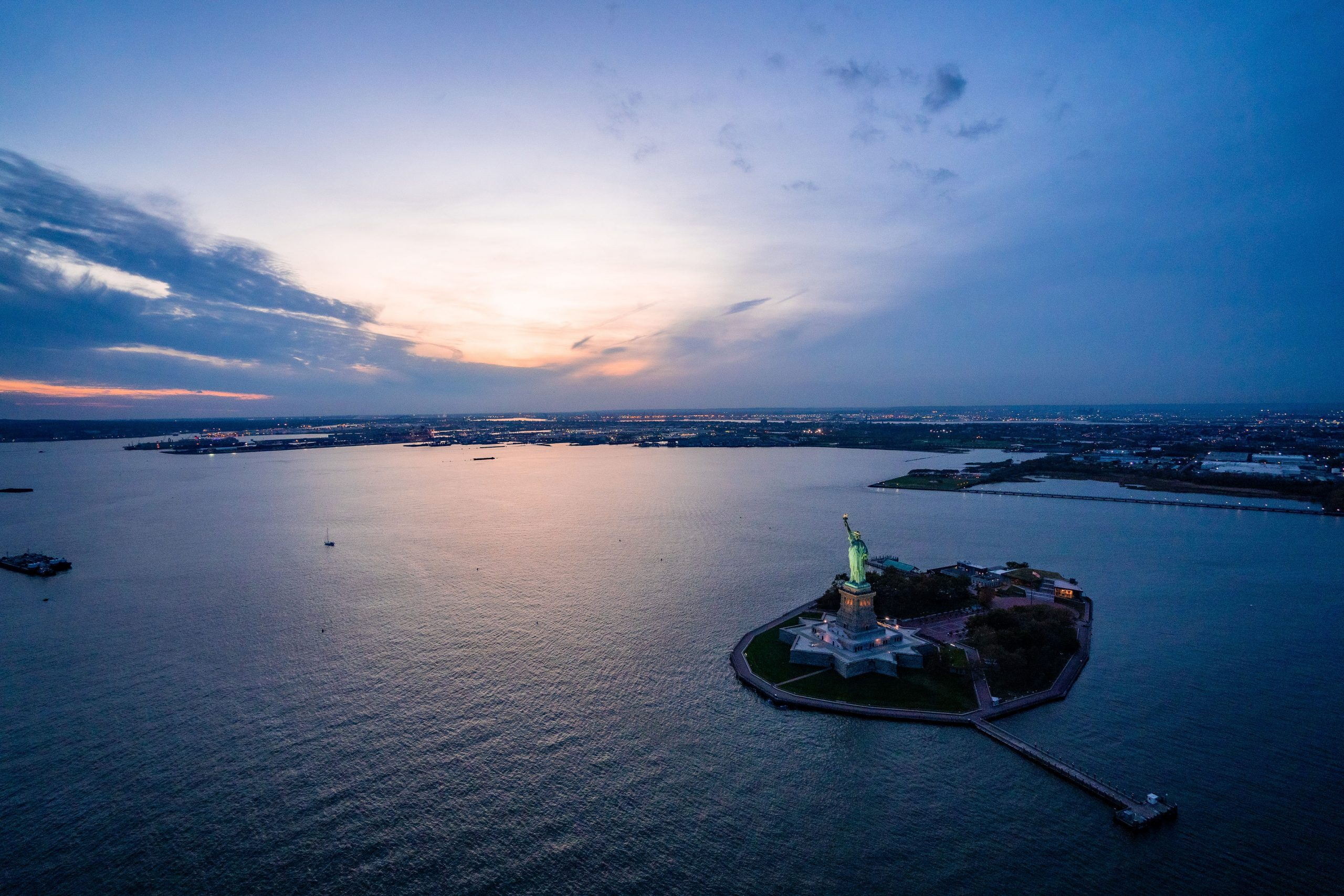 statue of liberty helicopter view