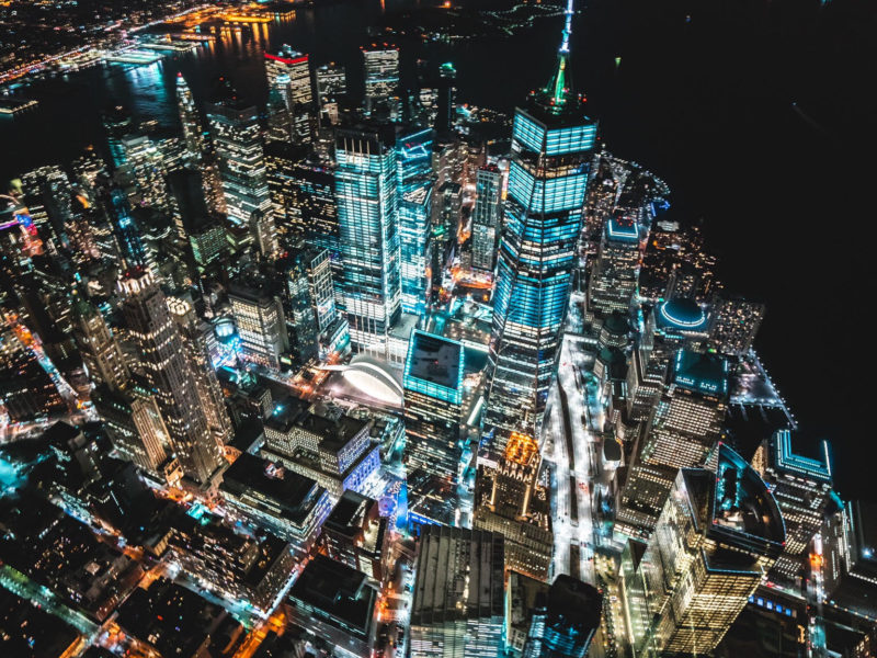 Birds eye veiw of city at night